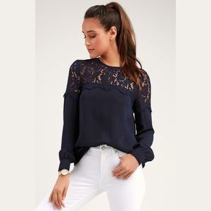 LULU'S | Picture This Lace Blouse Navy Size S